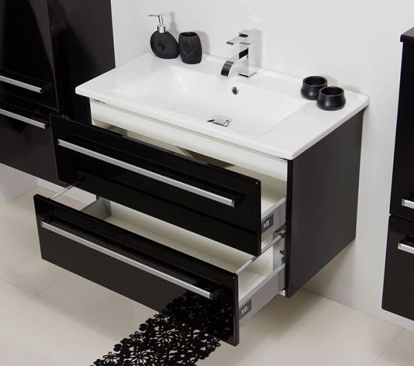 Waschplatz Serena, Breite 85 cm, schwarz glänzend, SA85248