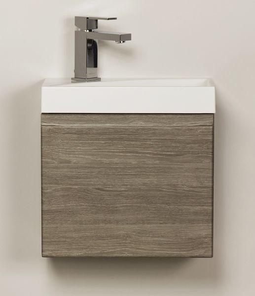 Waschplatz Faros 40, Waschbecken Ruth, Front und Korpus Holzdekor Perlgrau, FZ4023R
