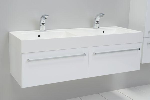Quentis Doppelwaschplatzset Aruva Breite 140 cm, Ausführung weiß glänzend