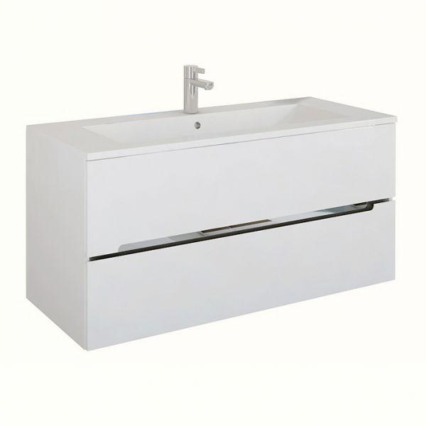 Waschplatz Sivas, Breite 120 cm, Ausführung weiß glänzend