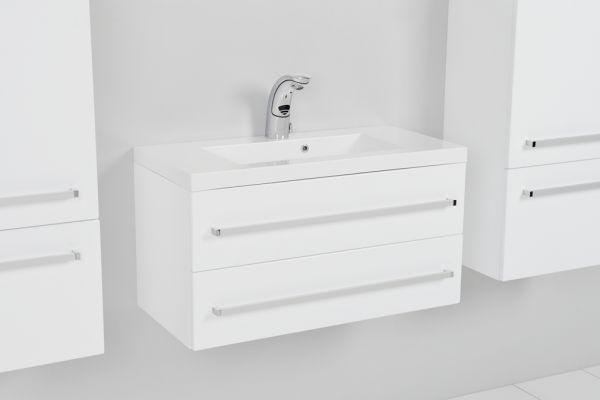 Waschplatz Genua Breite 80 cm, Front und Korpus weiß glänzend