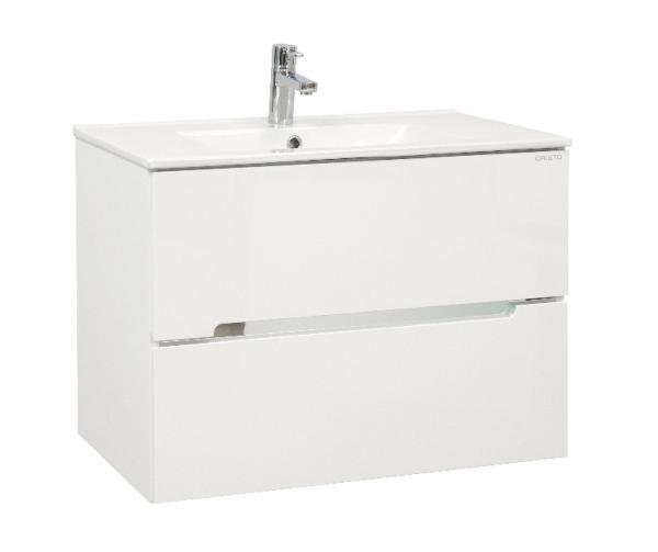 Waschplatz Sivas 75, Keramikwaschbecken und Unterschrank, weiß glänzend, SL1075