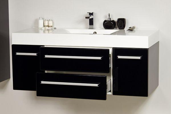 Badmöbel Aruva, Breite 120 cm, schwarz glänzend, AR1248-E-2S