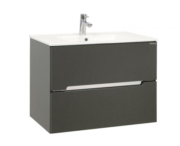Waschplatz Sivas, Breite 75 cm, Keramikwaschbecken und Unterschrank, Lavagrau matt, SL1175