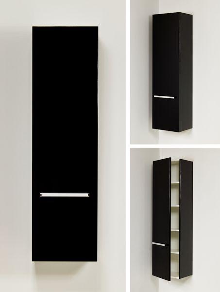 Hochschrank schwarz, 1 Türe, HS-G-4048-1T
