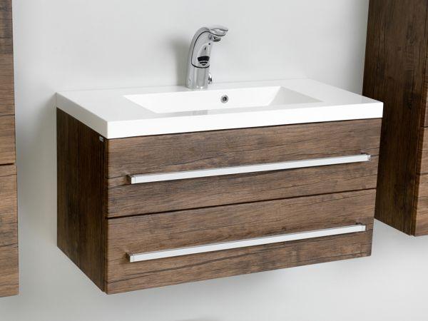Waschplatz Genua Breite 80 cm, Front und Korpus Holzdekor antik