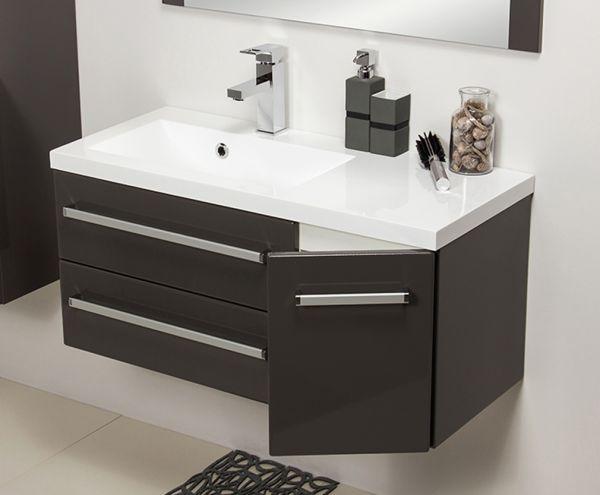 Waschplatz Genua Breite 90 cm, anthrazit glänzend, GE9256