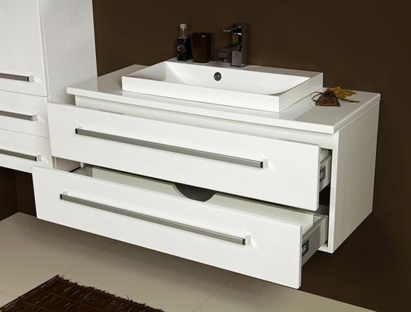 Badmöbel Susan, Breite 100 cm, weiß, Waschbeckenunterschrank mit 2 Schubladen, SN1047-2S