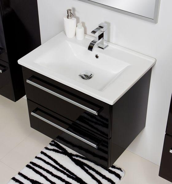 Badmöbel Serena, Breite 65 cm, schwarz glänzend, SA65248