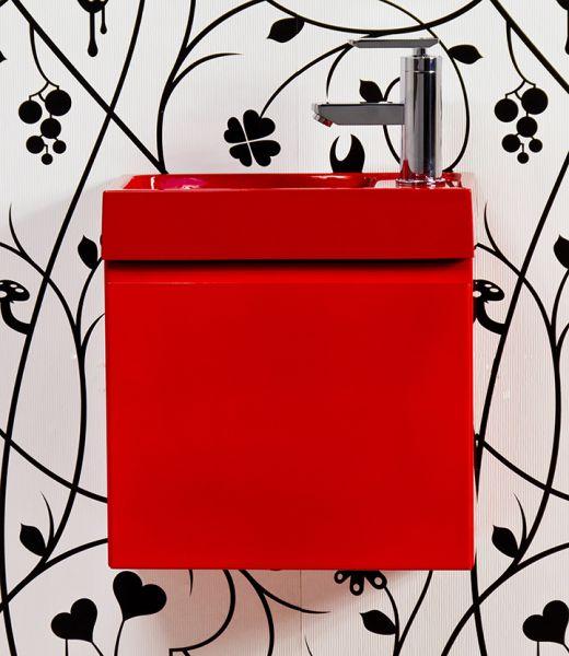 Gäste-WC Set Faros, Breite 40 cm, rot glänzend, Waschtisch rot, FZ4022CR