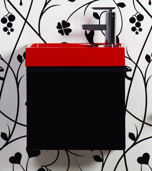 Waschplatz Faros 40, Front und Korpus schwarz glänzend, Waschbecken rot,FZ4048CR