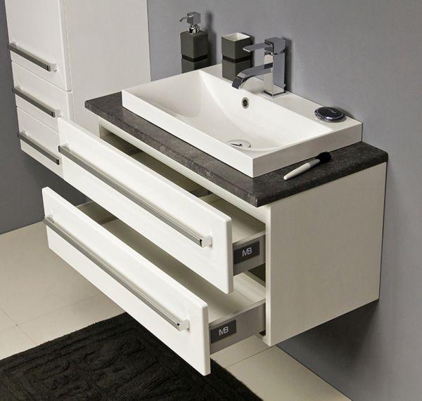Badmöbel Susan, Breite 80 cm, weiß-graphit, Unterschrank mit 2 Schubladen, SN8075-2S