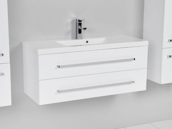 Waschplatz Genua Breite 100 cm, Front und Korpus weiß glänzend