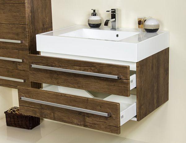 Badmöbel Zeno, Breite 80 cm, 2 Schubladen, Holzdekor antik, ZE8050-2S