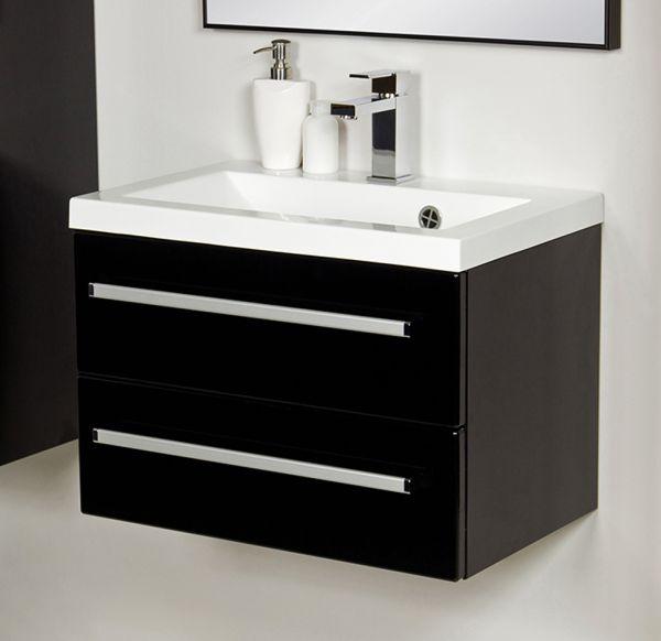 Waschplatz Genua 60, 2 Schubladen, schwarz (Art.Nr. GE6248)