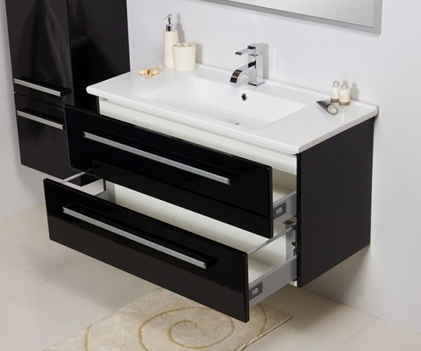 Waschplatz Serena, Breite 100 cm, schwarz glänzend, SA10248