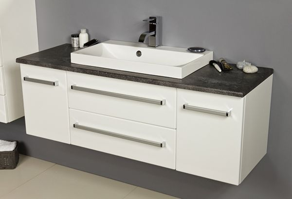 Badmöbel Susan, Breite 120 cm, weiß/ graphit, Waschbeckenunterschrank mit 2 Schubladen, 2 Türen, SN1275