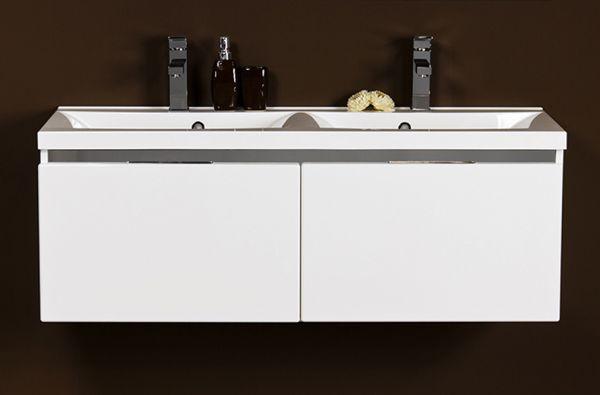 Doppelwaschplatz Vado, Breite 120 cm, weiß glänzend, VA1247-D