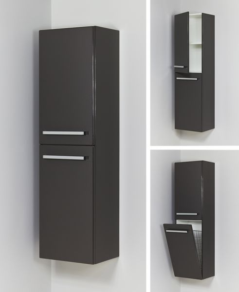 Bad-Hochschrank mit Türe und Wäschekippe, HS-G-4048-WS