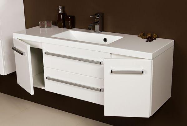 Waschplatz Genua Breite 120 cm, Front und Korpus weiß glänzend, GE3347-C