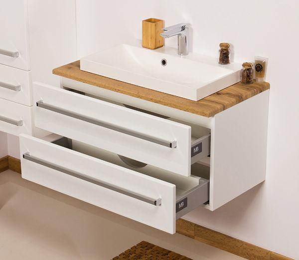 Badmöbel Susan, Breite 80 cm, weiß/ eiche, Unterschrank mit 2 Schubladen, SN8047-NE-2S
