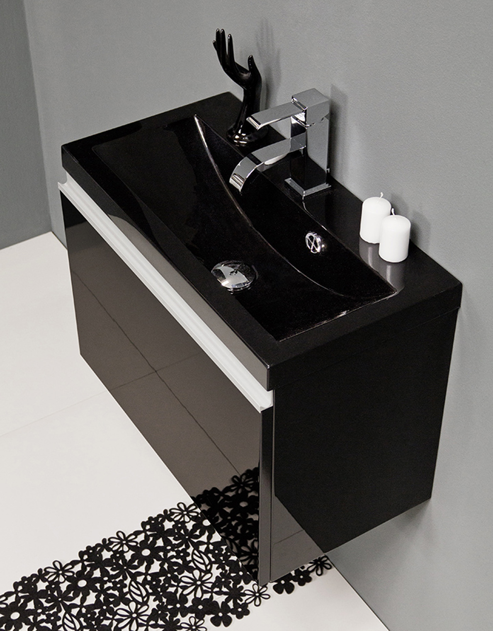 Badmöbel Faros 20 cm, schwarz, Waschbecken schwarz