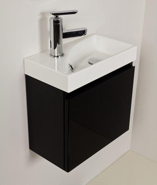 Waschplatz Faros 40, Front und Korpus schwarz glänzend, Aufsatzbecken Ruth, FZ4048R