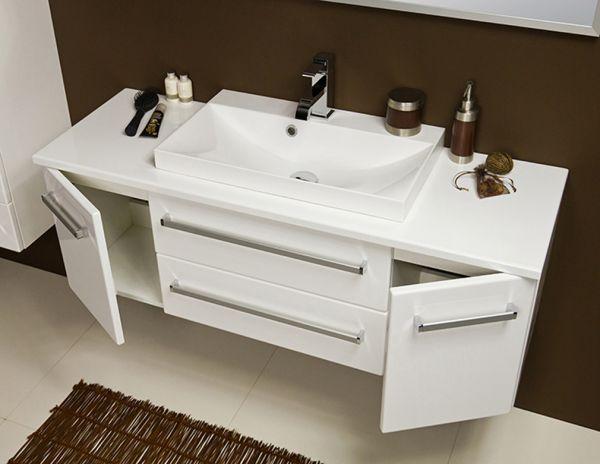 Badmöbel Susan, Breite 120 cm, weiß, Waschbeckenunterschrank mit 2 Schubladen, 2 Türen, SN1247-2S