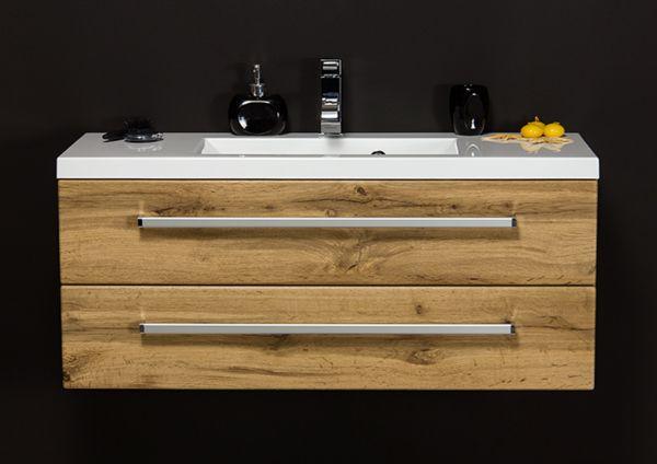 Badmöbel Genua, Breite 100 cm, Holzdekor Eiche Natur; GE1262